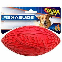 """Nerf Dog 1570 6"""" Tire Squeak Football, Dog Toy, Large, Red"""