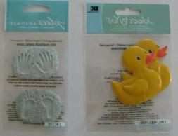 2 Pack Jolee RUBBER DUCKIE Bath BABY BOY HAND FOOT PRINTS Sc
