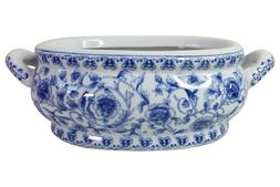 "Blue and White Porcelain Floral Chinoiserie Foot Bath 16"" Ha"