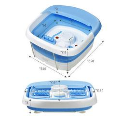 Foldable Foot Spa Bath Motorized Massager w/ Red Light Bubbl