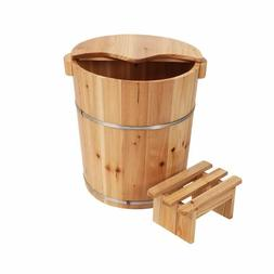 Foot basin Tall wooden bucket with cover rest stool foot bat