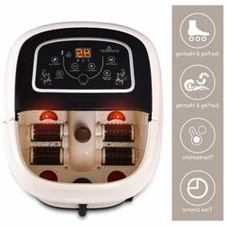 Foot Spa Bath Massager Tem/Time Set Heat Bubble Vibration Wa