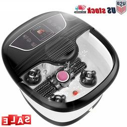 NEW Foot Spa Bath Massager with Massage Rollers Heat and Bub