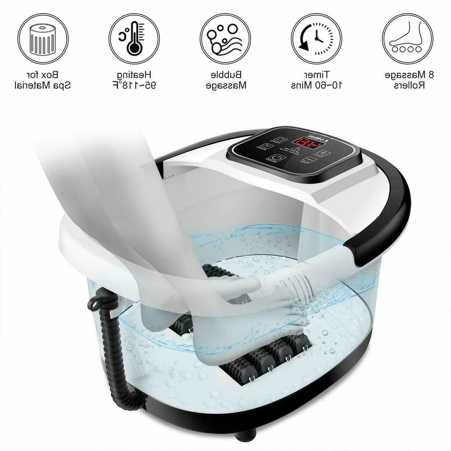 Foot Spa with Bubbles Vibration Massage Rollers Timer