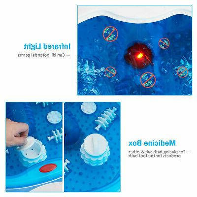 Heated Display Foot Spa Bubbles 4 Roller Portable Massager