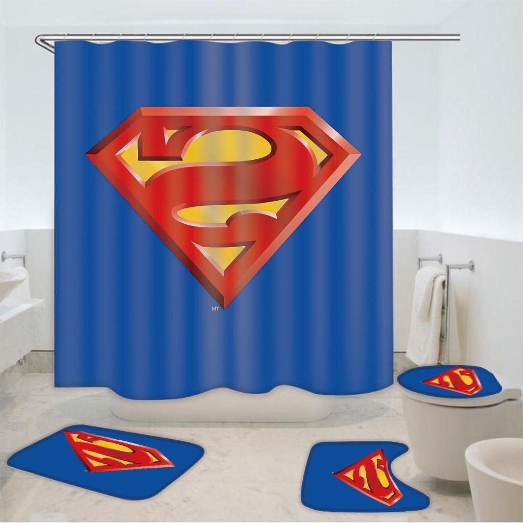 Superman Bathroom Mat Shower Curtain 4PCS Non-Slip Foot Mat