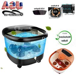 Large Foot Spa Bath Massager LED Display Bubble Heat Rollers