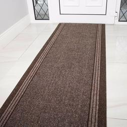 NEW Brown Rubber Backed Very Long Hallway Hall Runner Narrow