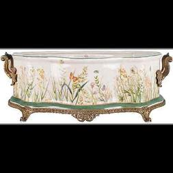 NEW WILDFIELD BUTTERFLY BRONZE AND PORCELAIN BASIN jardinier