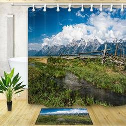 Pasture At The Foot of The Mountain Shower Curtain Bathroom