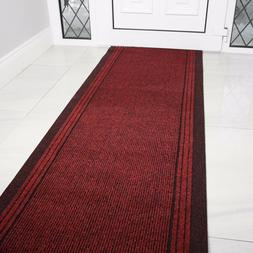 Rust Red Rubber Backed Very Long Hallway Hall Runner Narrow